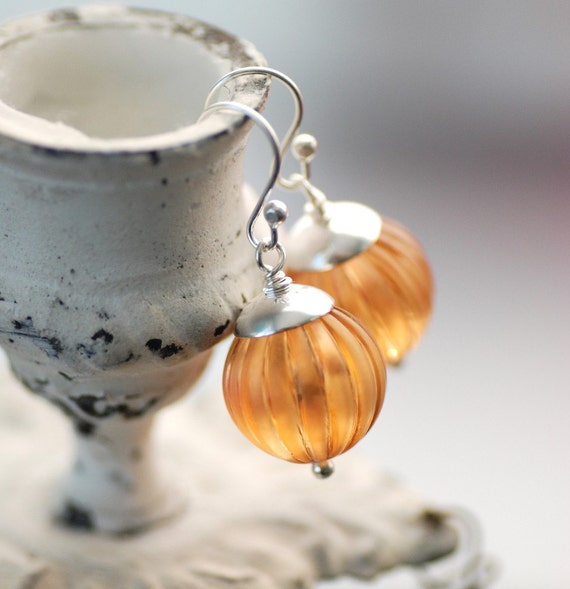 Sterling Silver Earrings, Apricot Vintage Lucite and Sterling Silver - simplify
