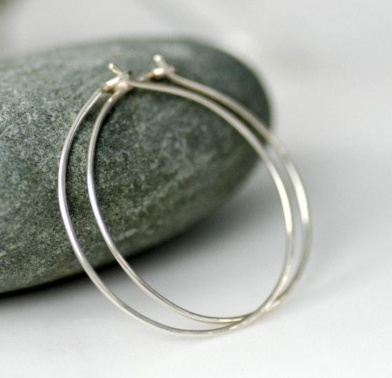 Simple Hoops, Hammered Hoop Earrings, Sterling Silver Hoops, Everyday Earrings, Minimalist Jewelry - Little Black Dress