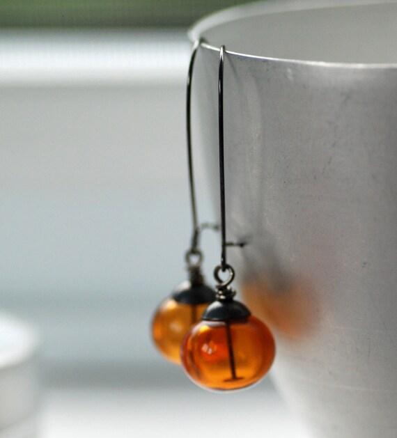 Amber Glass Earrings, Honey Earrings, Dangle Earrings, Outdoor Wedding, Jewel Tone Wedding, Oxidized Silver and Gunmetal - Amber Sky