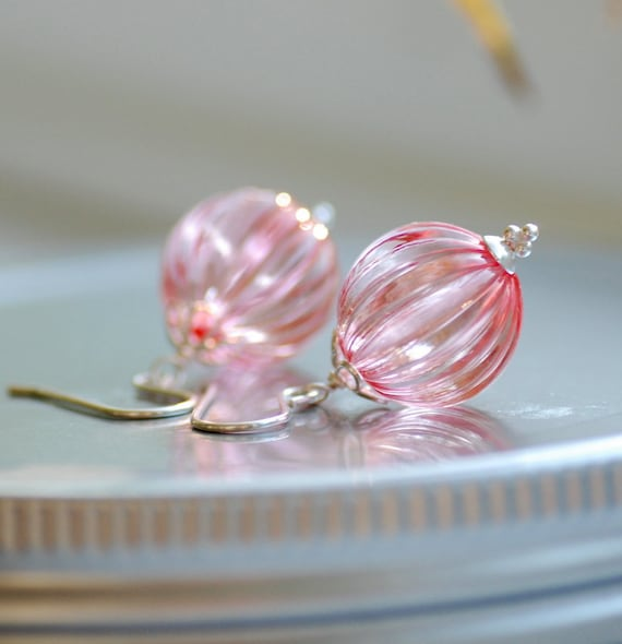 Honeysuckle Pink Earrings, Rose Pink, Acrylic Earrings, Textured Jewelry, Pastel Jewelry, Sterling Silver