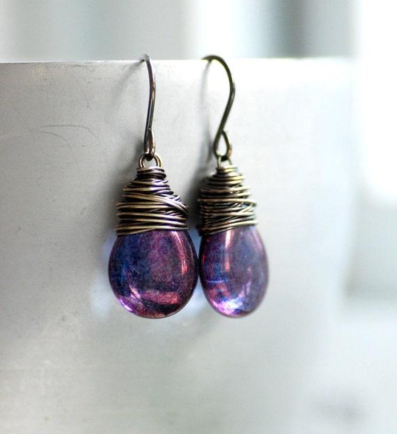 Amethyst Purple Earrings, Wire Wrapped Earrings, Glass Earrings, Rustic Earrings, Jewel Tone Wedding, Oxidized Sterling Silver