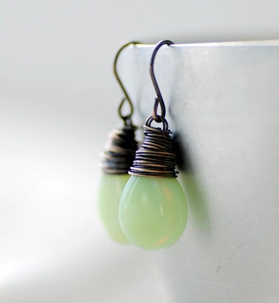 Mint Green Earrings, Pale Green Glass Earrings, Drop Earrings, Summer Jewelry, Pastel Jewelry, Oxidized Sterling Silver