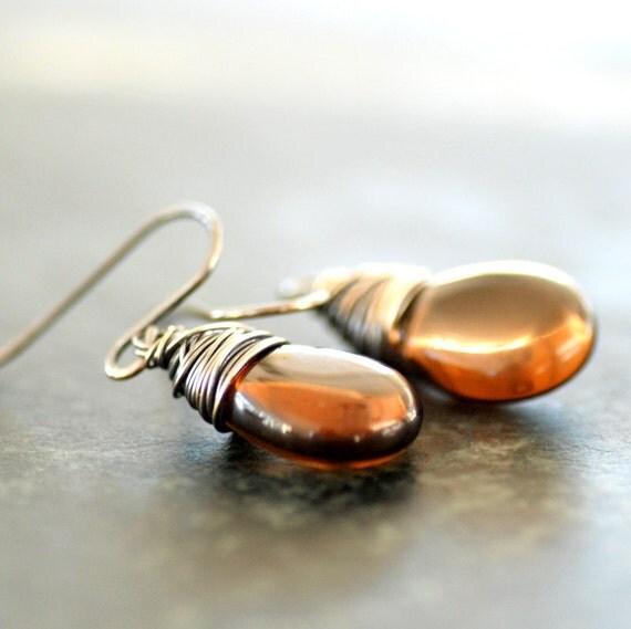 Smoky Topaz Earrings, Autumn Wedding, Earth tone Jewelry, Dark Topaz Earrings, Dangle Earrings, Glass Jewelry, Oxidized Sterling Silver