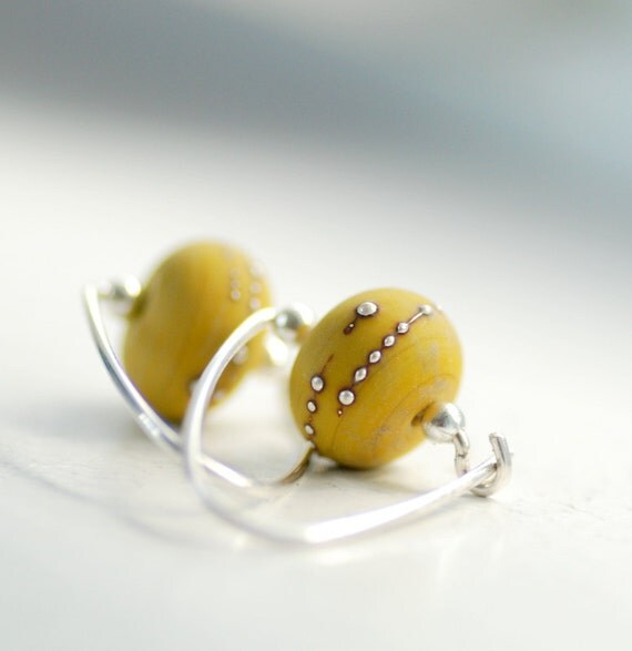 Glass Earrings, Olive Green Earrings, Glass Jewelry, Elegant Earrings, Modern, Etched Glass and Sterling Silver