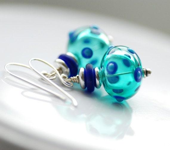 Teal Earrings, Blue Glass Earrings, Polka Dot Jewelry, Funky Earrings, Fun Jewelry, Statement Earrings, Sterling Silver - Whimsy