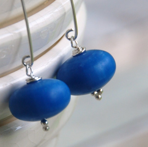 Ocean Blue Earrings, Lucite Earrings, Simple Jewelry, Dangle Earrings, Sterling Silver, Wild Woman Jewelry