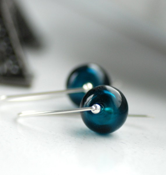 Midnight Blue Glass Earrings, Simple Modern Earrings, Blue Wedding, Wedding Jewelry, Ink Blue, Sterling Silver -  Love Letter