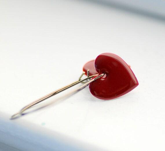 Heart Earrings, Dark Red, Oxblood, Enameled Hearts, Enameled Earrings, Valentine, Love, Gift for Her