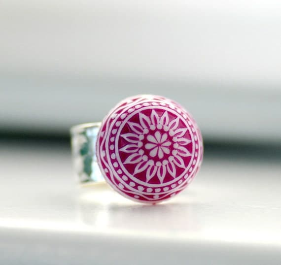 Hammered Ring, Purple Ring, Adjustable Ring, Big Chunky Ring, Scandinavian Design, Lucite Jewelry, Sterling Silver Plated
