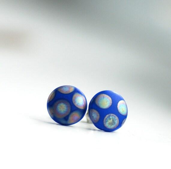 Post Earrings, Blue Studs, Stud Earrings, Cobalt Blue, Funky Studs, Retro Earrings, PolkaDot Jewelry, Stainless Steel Posts, Geometric
