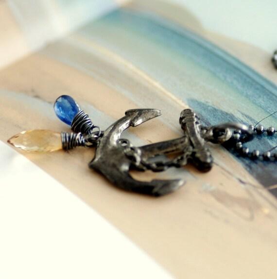 Anchor Necklace, Nautical Pendant Necklace, Sailor Necklace, Blue Kyanite, Lemon Quartz, Oxidized Sterling Silver - Anchors Aweigh