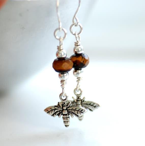 Bee Earrings, Honeybee Earrings, BumbleBee Jewelry, Tigers Eye Earrings, Gift for Gardeners, Nature Jewelry - Bzzzzz