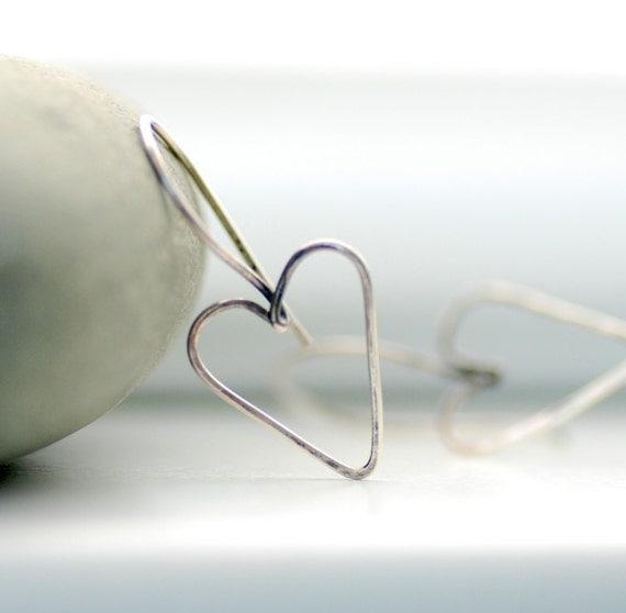 Sterling Silver Earrings, Wire Heart Earrings, Hammered Heart Earrings, Metal Work Earrings, Valentine, Romantic Jewelry, Wedding Jewelry