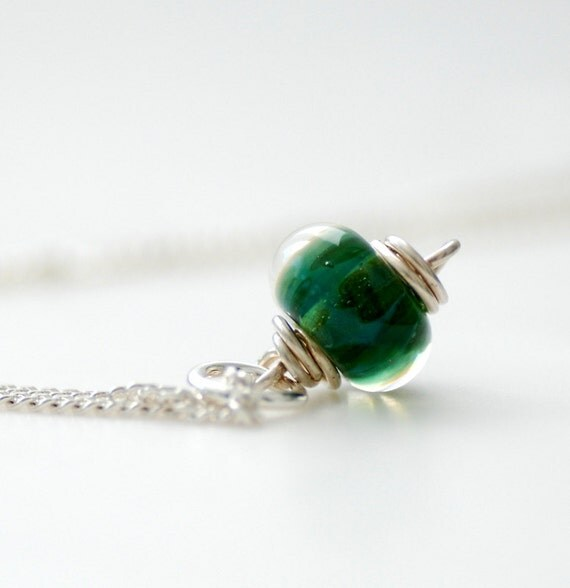 Green Glass Pendant, Pendant Necklace, Boro Glass Pendant, Pine Green, Woodland, Sterling Silver Necklace - Forest