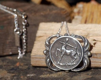 Sagittarius Medallion Necklace - Astrological Zodiac Sign Pendant - Sterling Silver or Brass