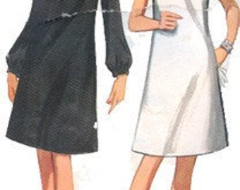 Draped Cowl Neckline A Line Dress w/ Seam Interest Day or Evening Cocktail Butterick 4483 Vintage 60s Mod Sewing Pattern Size 16 Bust 36