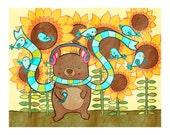 Sunflower Bear in Headphones 8x10 Print