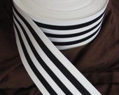 FOR SHANEQUA - 2 yards 2 in beige AND 2 yards black and white extra wide striped elastic, 3 inches wide