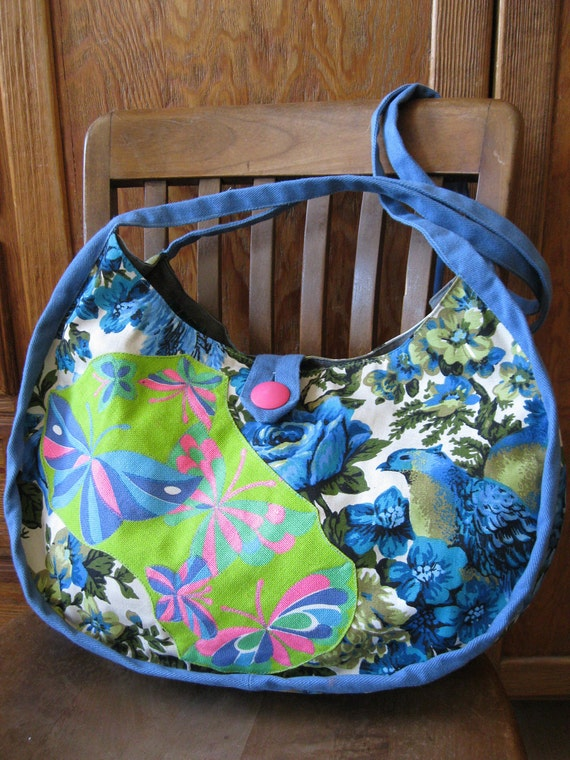 the Crescent Button Bag, Blue Birds and Butterflies, in original ...