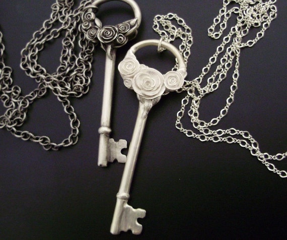 SALE - Romantic White Roses - Floral Skeleton Key Necklace - Handsculpted, Cast Sterling Silver - READY TO SHIP