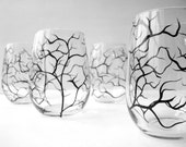 Winter Tree Branch Stemless Wine Glasses - Set of 2 Hand Painted Glasses - Black Winter Trees, FREE PRIORITY SHIPPING