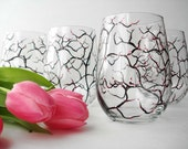 Spring Cherry Blossom Stemless Wine Glasses - Set of 4 Hand Painted Glasses - Mothers Day Gift