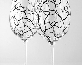 Black Tree Branch Wine Glasses - Set of 2 hand painted wine glasses