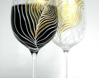 Gold and Ivory Peacock Feather - Set of 4 Hand Painted Wine Glasses