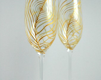 Gold Peacock Feather Wedding Toast Flutes - Set of 2 Personalized Champagne Flutes