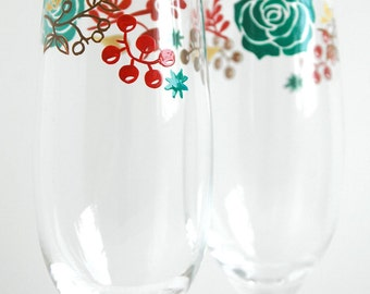 Succulents and Berries Wedding Toasting Flutes - Set of 2 Personalized Champagne Flutes - Limited Edition