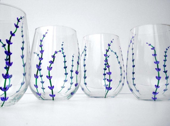 Lavender wine glasses set of 2 hand painted stemless glasses for Painted stemless wine glasses