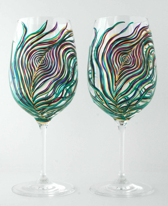Painted Wine Glasses - Set of 2 Hand Painted Peacock Feather Glasses