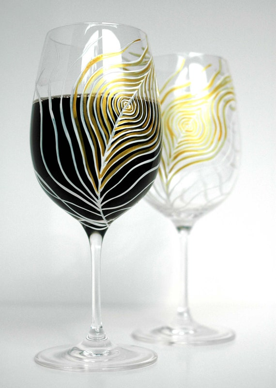 Gold and Ivory Peacock Feather--Set of 2 Hand Painted Wine Glasses