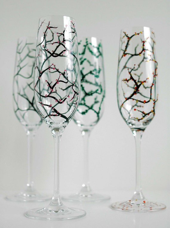 The Four Seasons Champagne Flutes--4 Piece Hand Painted Collection