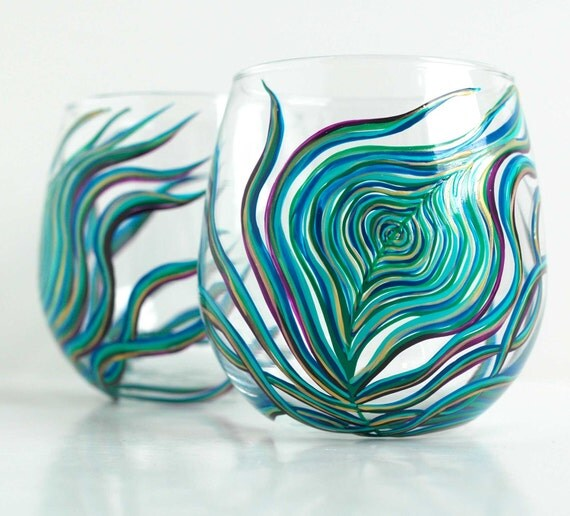 Painted Couple Peacock Wedding Gifts Unique Delicate Home: Peacock Feather Stemless Wine Glass Single Hand Painted Wine