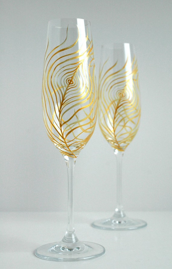 Gold Peacock Feather Wedding Toast Flutes - Set of 2 Personalized Champagne Flutes, Gold Feathers, Peacock Feathers, FREE SHIPPING