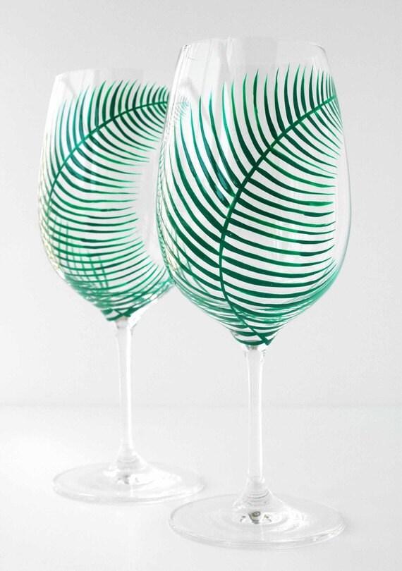 Summer Green Fern Glasses - Set of 2 Hand Painted Wine Glasses