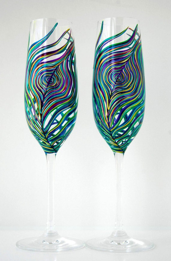 Peacock Feather Wedding Champagne Flutes - Personalized Toasting Flutes - Hand Painted Custom Wedding Flutes