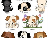 Set of 25 PLAYFUL PUPPIES Personalized Cardstock Tags, 8 Designs to Choose From, Gift Tags, Hang Tags, Favor Tags