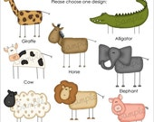 Set of 25 STICK ANIMAL Personalized Cardstock Tags, 8 Designs To Choose From, Gift Tags, Hang Tags, Favor Tags