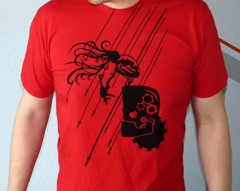 Robot Men's Tshirt, Giant Robot Shirt, Science Fiction Tshirt, Post Apocalyptic Clothing, Print Graphic Tee - Reignfall Tshirt