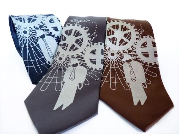 Logic Trap Men's Necktie, Geek Tie, Tech Gift, Steampunk Wedding Necktie, Engineer Gift