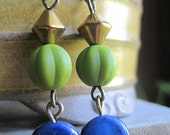 Earrings, Gold, Matte Wasabi Green, Navy Blue ~The Last Forest~
