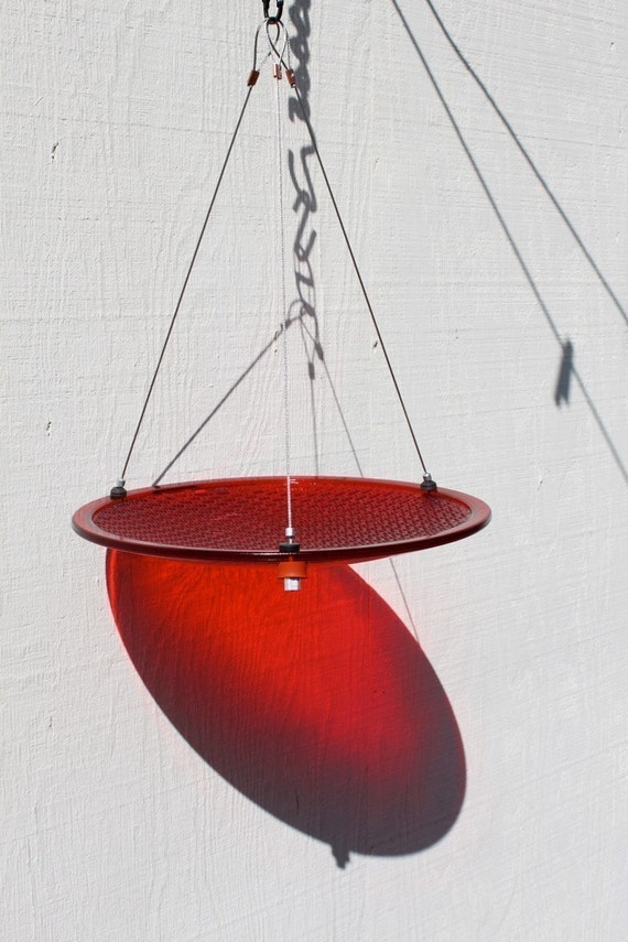 12 Hanging Bird Feeder Or Bird Bath Red Glass Used