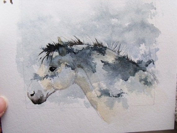 North American Indian Fjord Horse Shadow Box mixed media assemblage Original Watercolour horse pony equine art