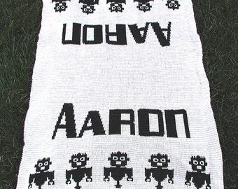 Personalized Geek Knit Baby Blanket