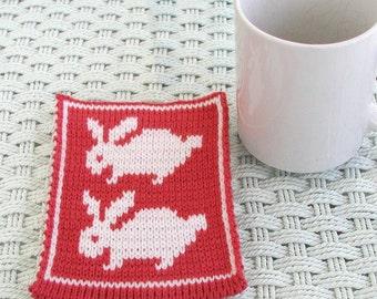 Knit Bunny Mugrug