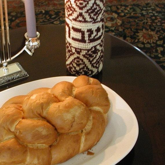 Knit Shabbat Wine Cozy