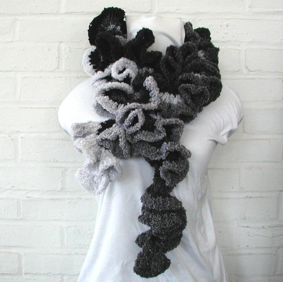 Classy Black and White Ruffled Scarf