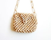 vintage SHELL purse / 1970s nautical SEASHELL hand bag